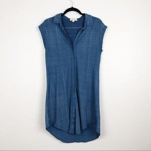 Anthro Cloth & Stone Chambray Denim Shirt Dress M